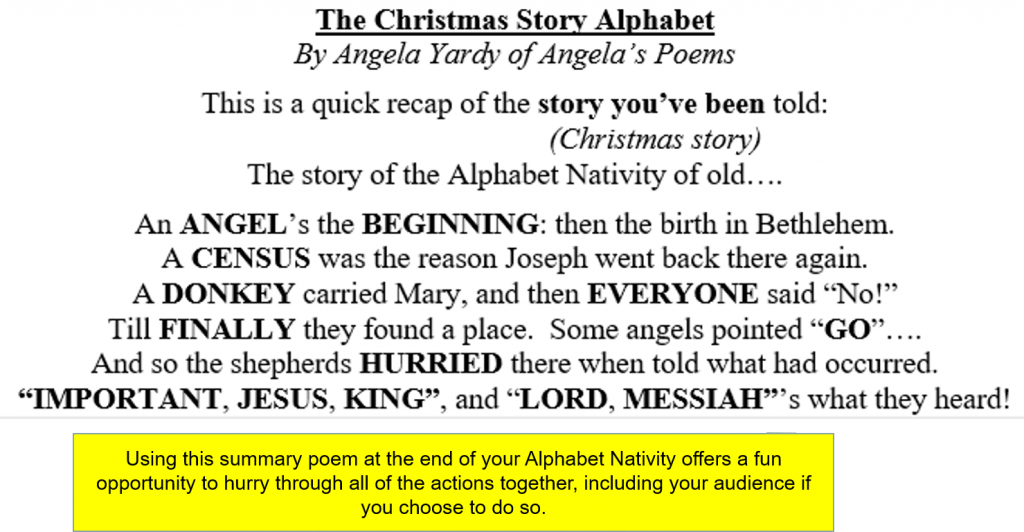 A preview of The Christmas Story poem by Angela Yardy
